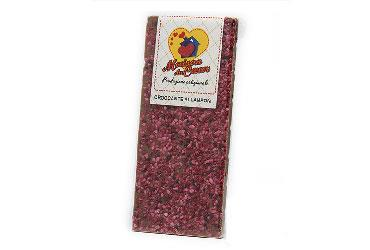 BAR OF MILK CHOCOLATE WITH RASPBERRIES 100 GR