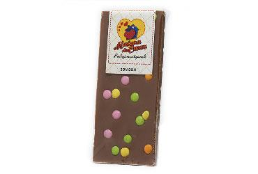 BAR OF MILK CHOCOLATE WITH SMARTIES 100 GR.