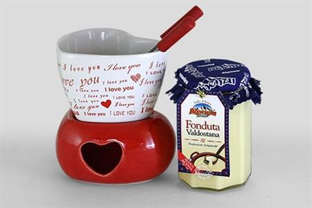 HEART FONDUE-HEATER FOR 2 PEOPLE WITH CHEESE FONDUE 295 GR