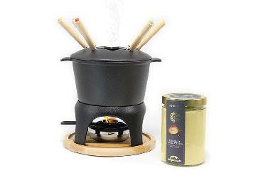 IRON COOKER ON BIRCH BASE AND CHEESE FONDUE 540 GR