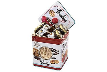 CUBIC BISCUITS BOX WITH 4 JAMS 40 GR.