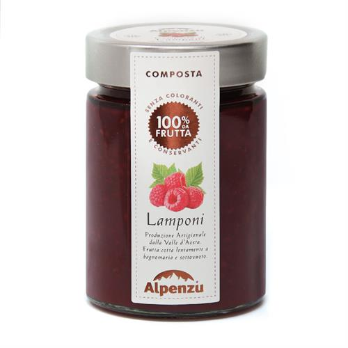 RASPBERRIES COMPOTE 100% FRUIT 350 G.